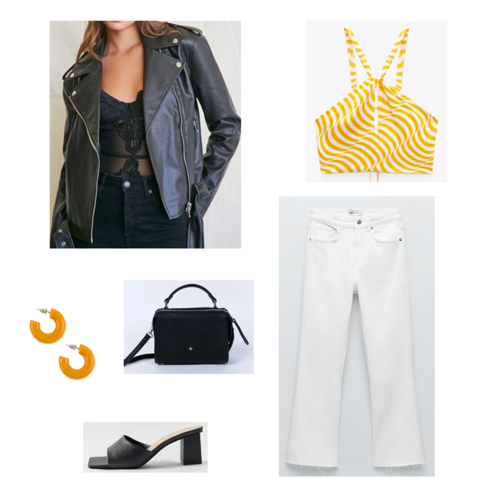 Cute white jeans outfit with ripped hem white jeans, orange and white patterned crop top, oversized leather jacket, black slide heels, black top handle mini bag, chunky orange hoop earrings