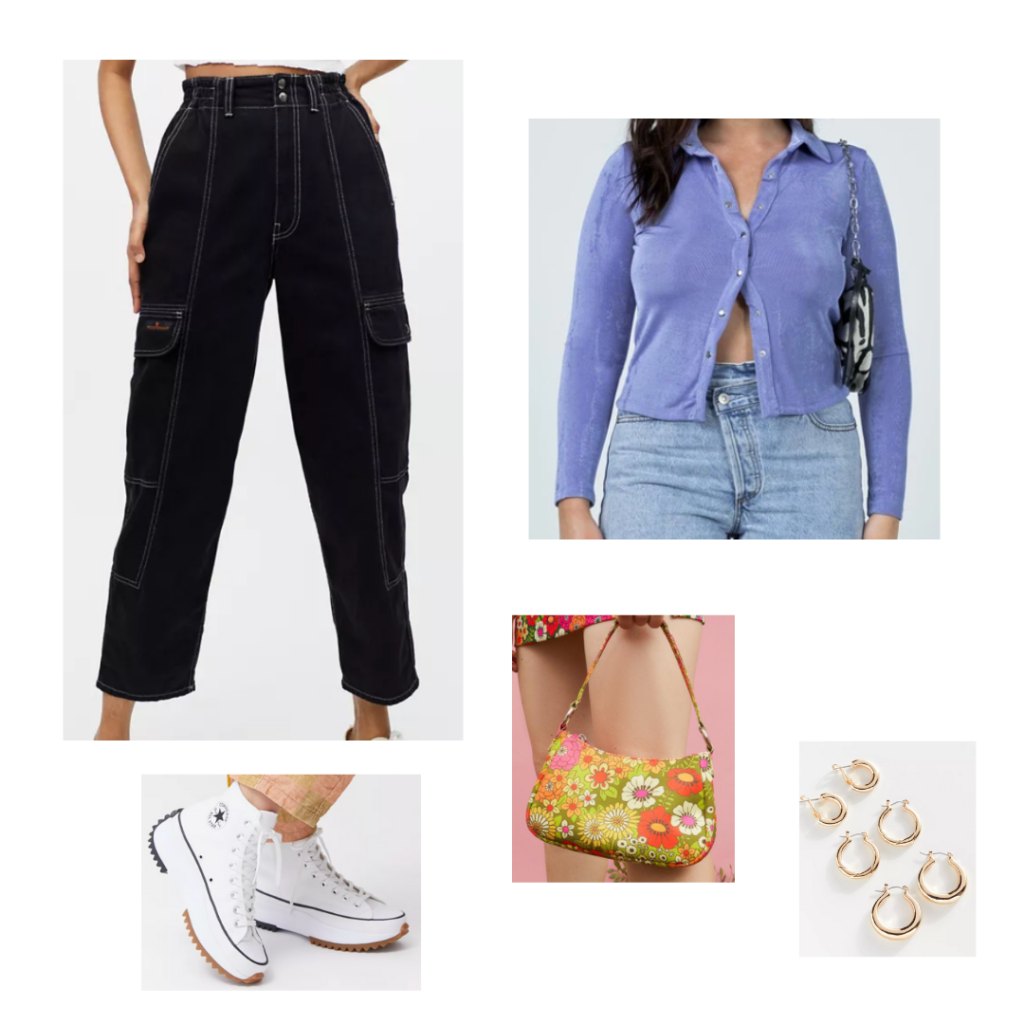 Cute outfit with utility jeans - black utility jeans with pockets, button-front polo top in purple, chunky platform converse in white, green and orange floral mini purse, hoop earrings in gold