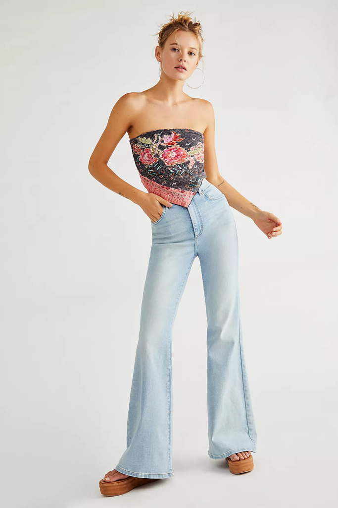 Free people flare jeans in light wash