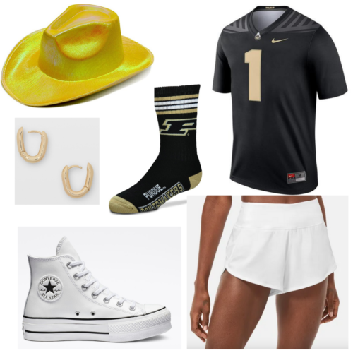 College game day outfit idea: Sports jersey, cowboy hat, white shorts, Converse sneakers, team socks, gold earrings