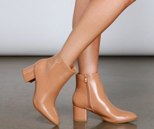 Tan Faux Patent Ankle Booties - cheap fall boots