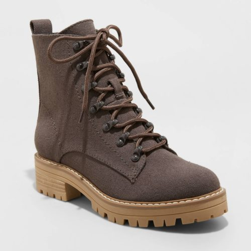 Brown Canvas Combat Boots