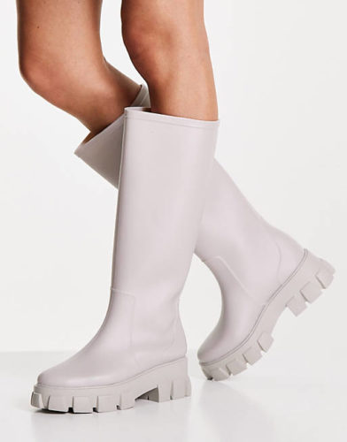 White Chunky Knee High Rain Boots with Thick Soles - cheap fall boots