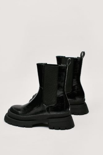 Patent Faux Leather High Chelsea Ankle Boots