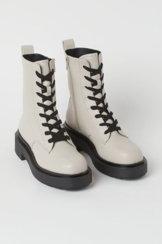 White Combat Boots with Black Laces and Soles