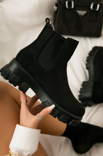 Faux Suede Ankle Combat Chelsea Boots