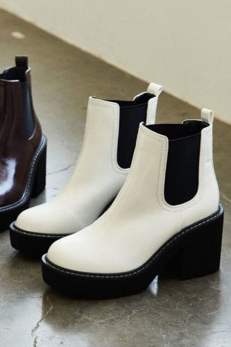 White Faux Patent Leather Chelsea Boots