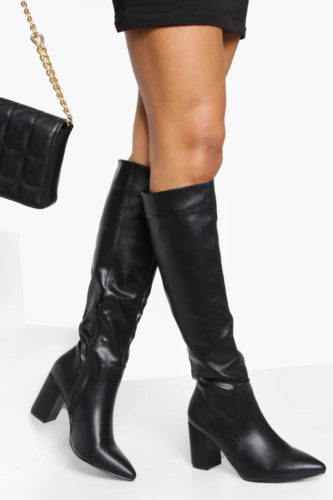 Black Pointed Toe Knee High Boots