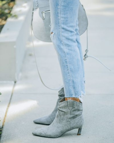 Faux Suede Scrunch Grey Booties with Tiny Heel - cheap fall boots