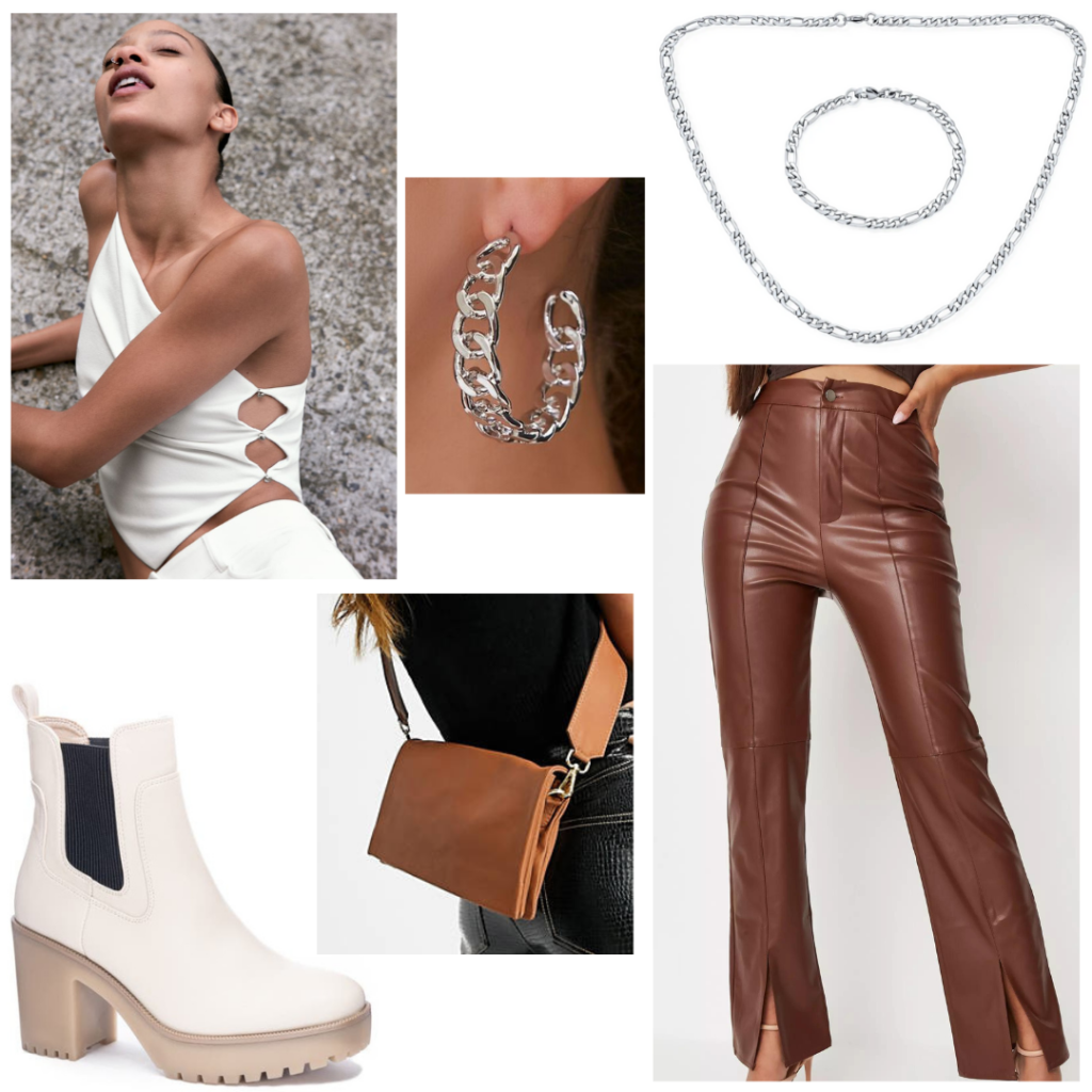 What to wear to a bar: casual bar outfit idea with brown leather pants, chunky white boots, white crop top, silver jewelry, crossbody bag