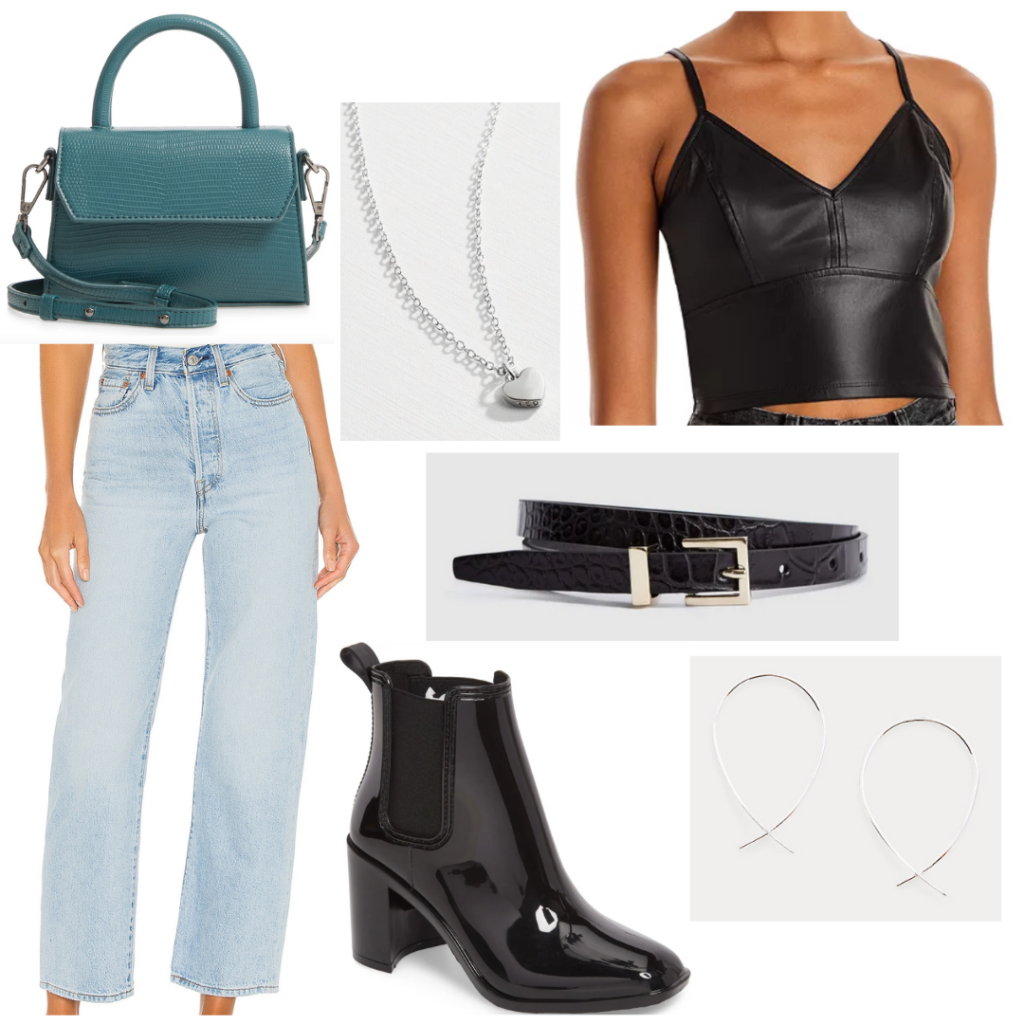 Casual bar outfit idea with jeans, leather top, black ankle boots, teal mini bag, belt, and silver jewelry