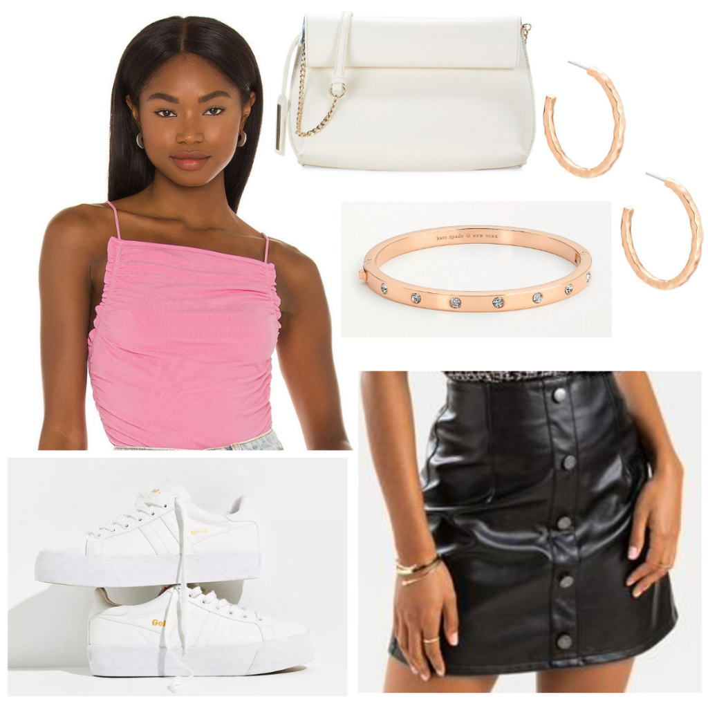 Cute bar outfit with black leather skirt, pink tank, rose gold jewelry, white bag, white sneakers