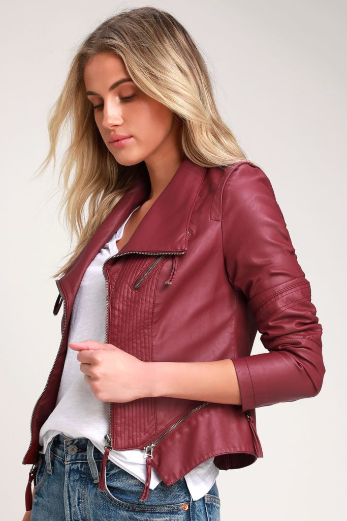 Red leather jacket from Lulus