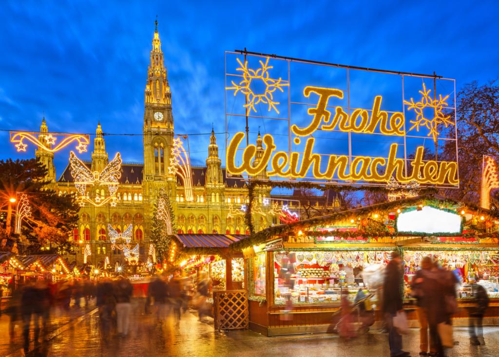 German Christmas market lit up with festive lights