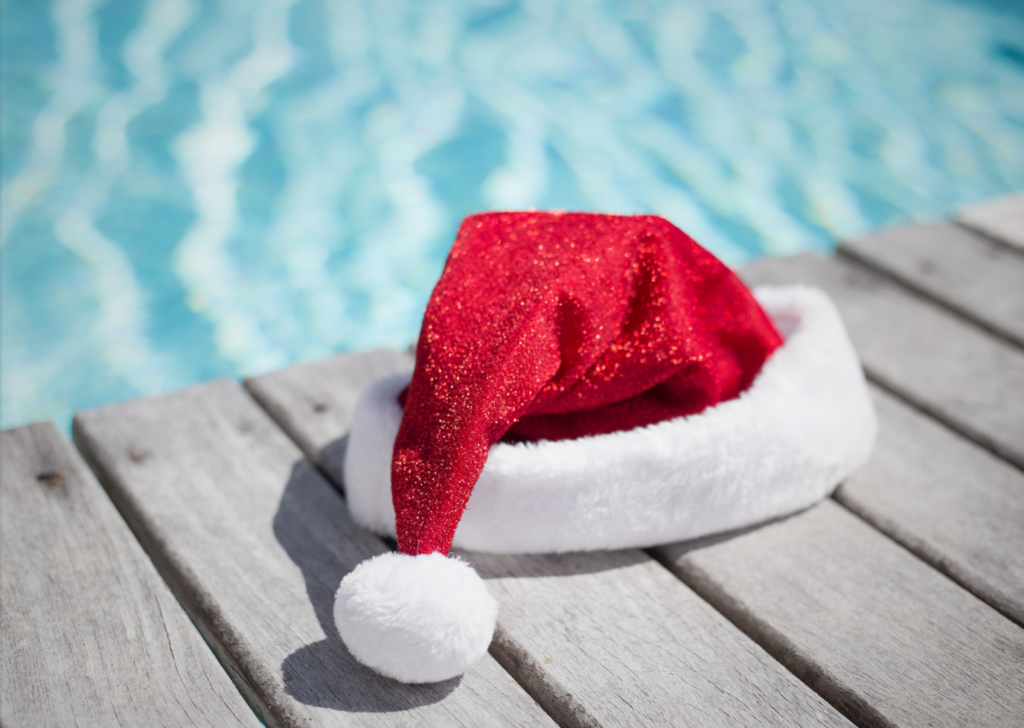 Santa hat on a pool deck