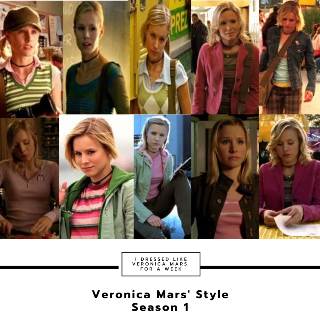 Veronica Mars style - collage of Veronica's outfits in season 1