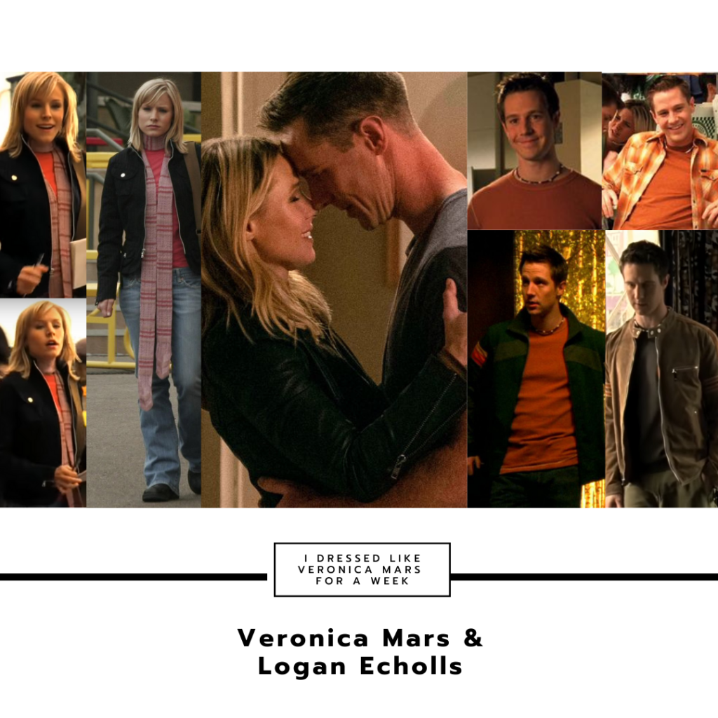 Collage of Veronica Mars and Logan's style together throughout the series