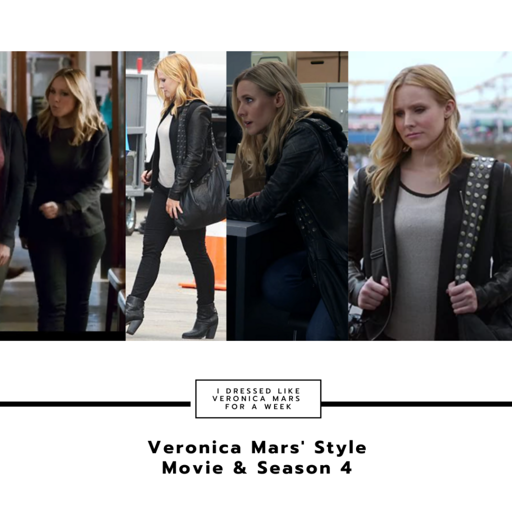 Collage of Veronica Mars outfits in season 4 and the movie