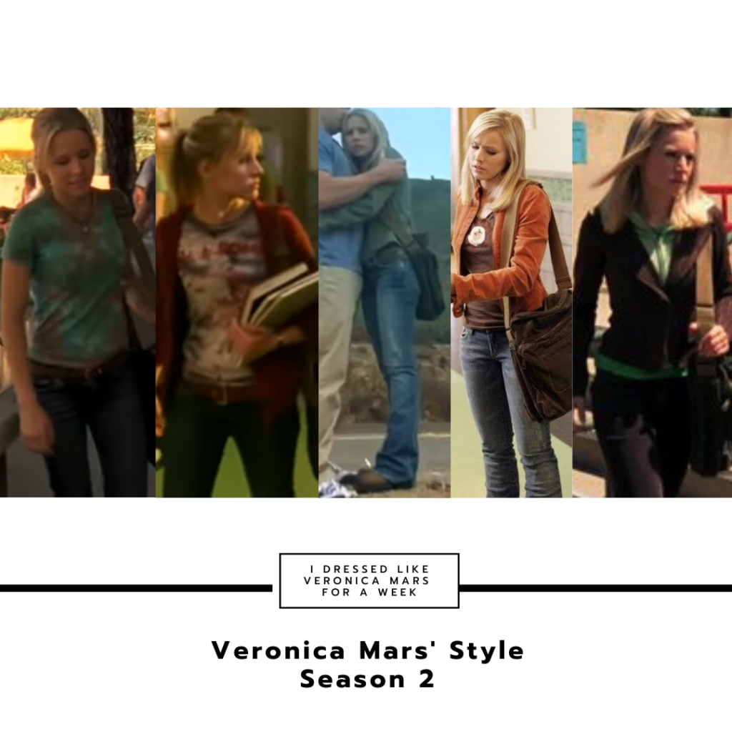 Collage of Veronica's outfits in season 2