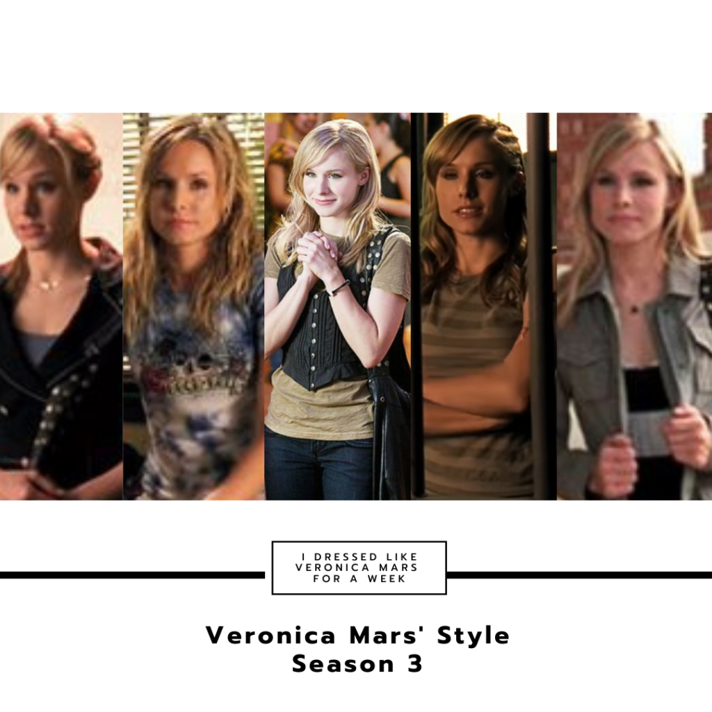 Collage of Veronica Mars outfits in season 3