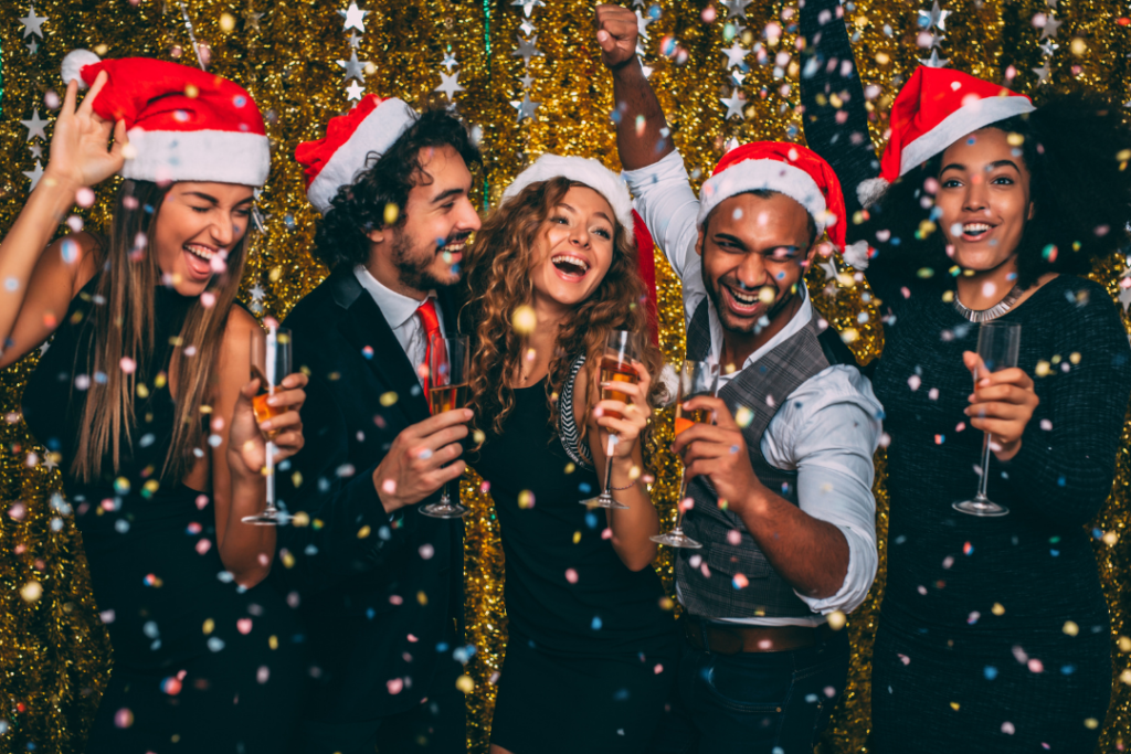 People celebrating at a Christmas party