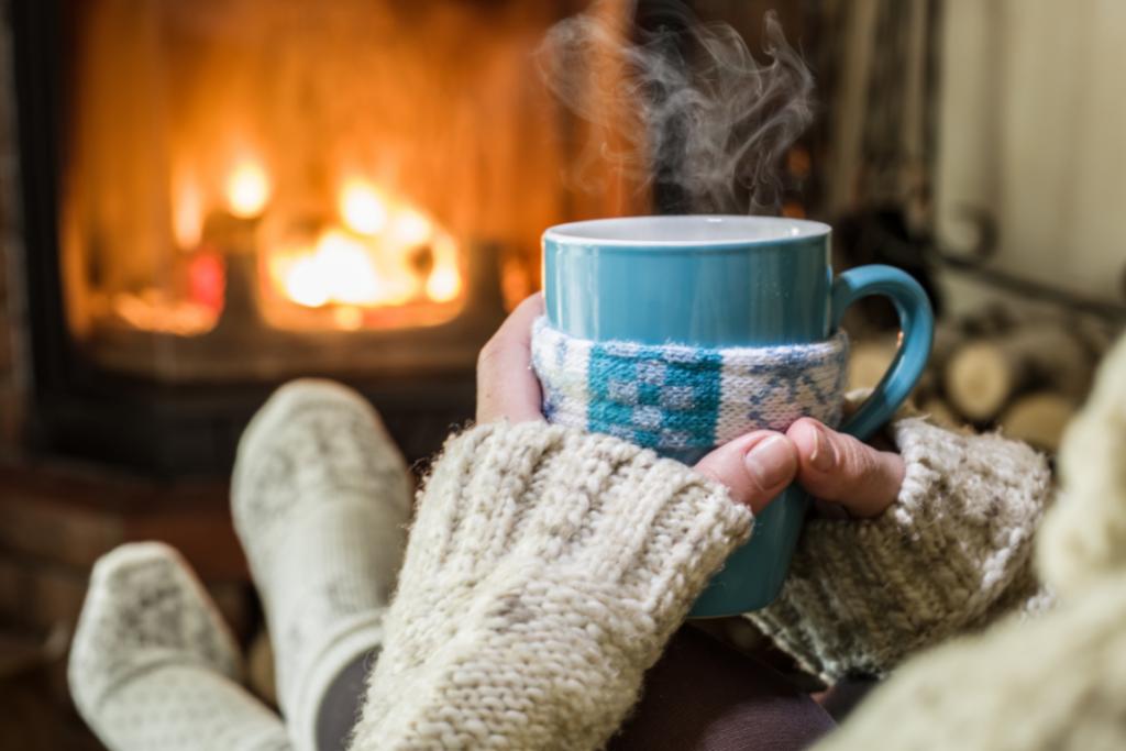 Cozy fireplace in winter