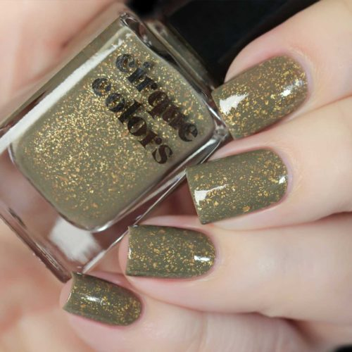 Green and gold speckled nails