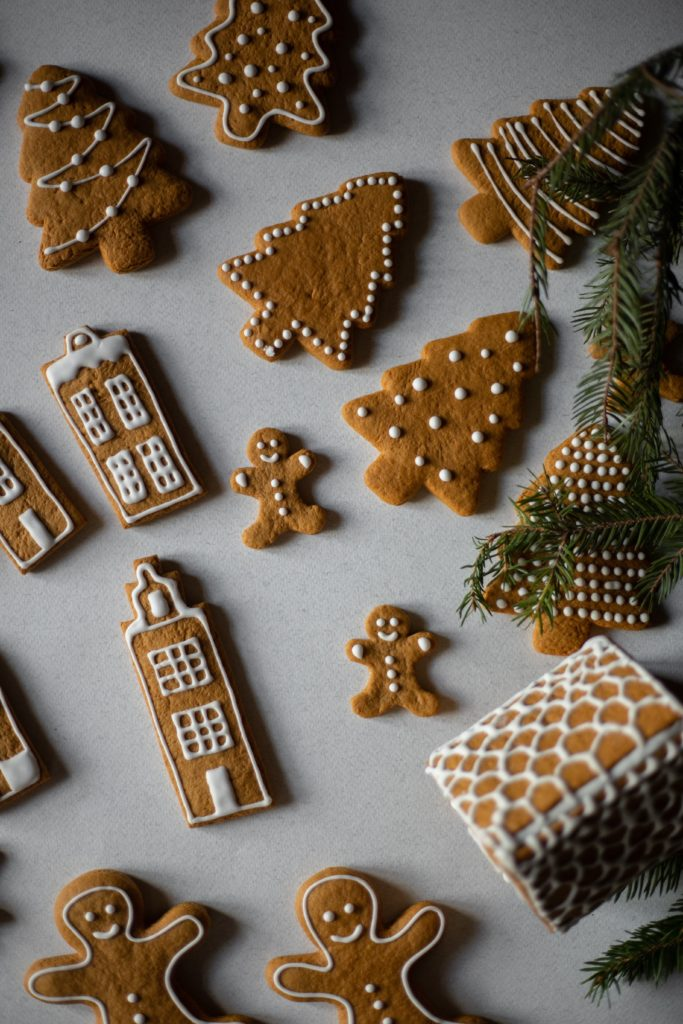 flat lay of iced gingerbread cookies