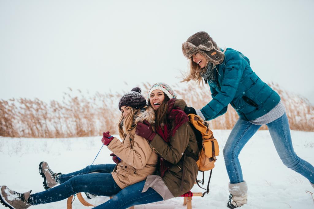 friends sledding