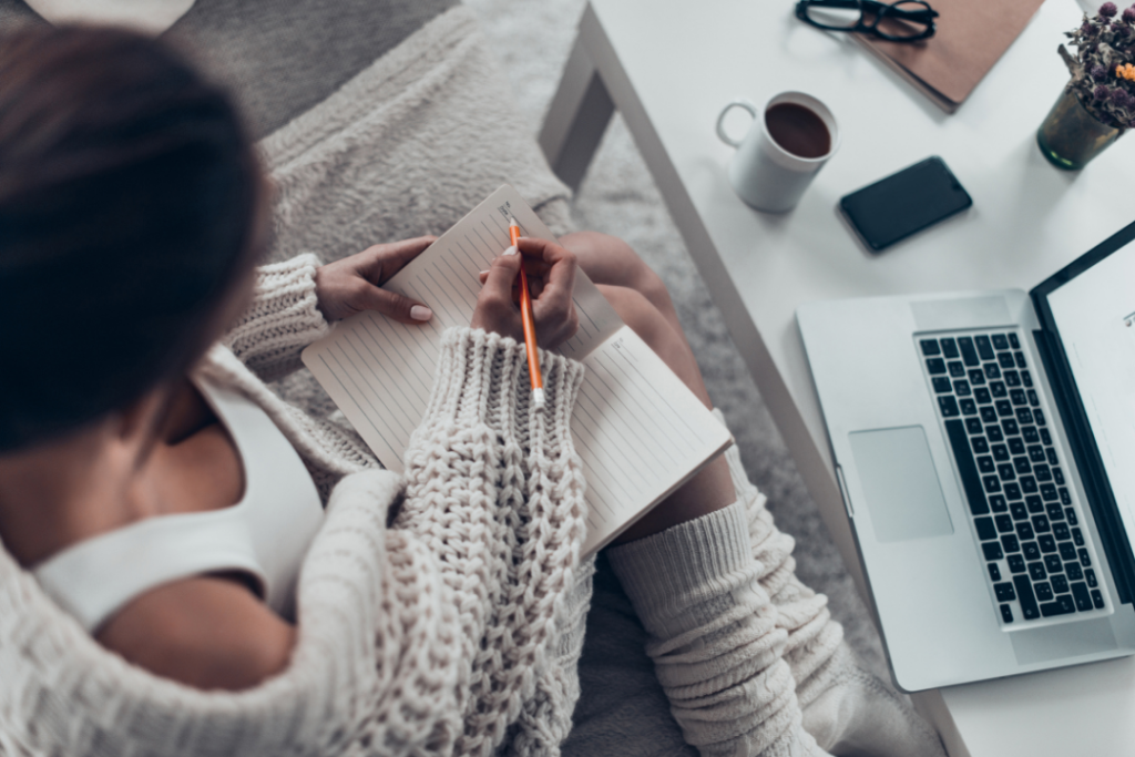 Woman doing freelance writing at home