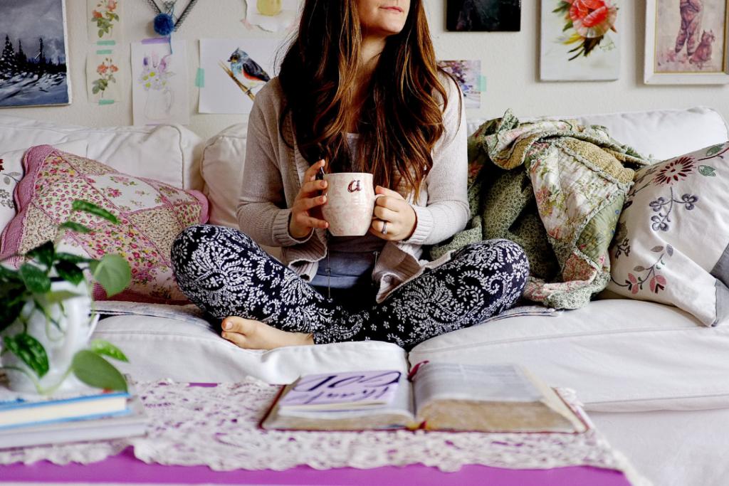 Photo of a woman at home enjoying winter break