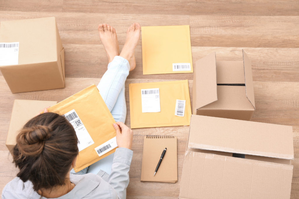 Woman shipping things on ebay
