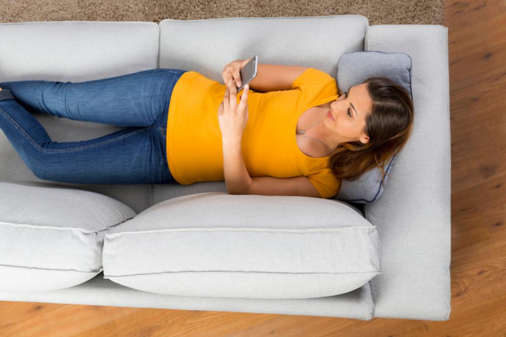Woman taking an online survey