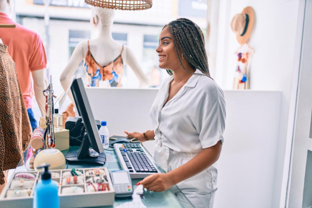 Woman working retail